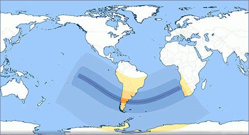 Карта зон видимости затмения 14 декабря 2020 года